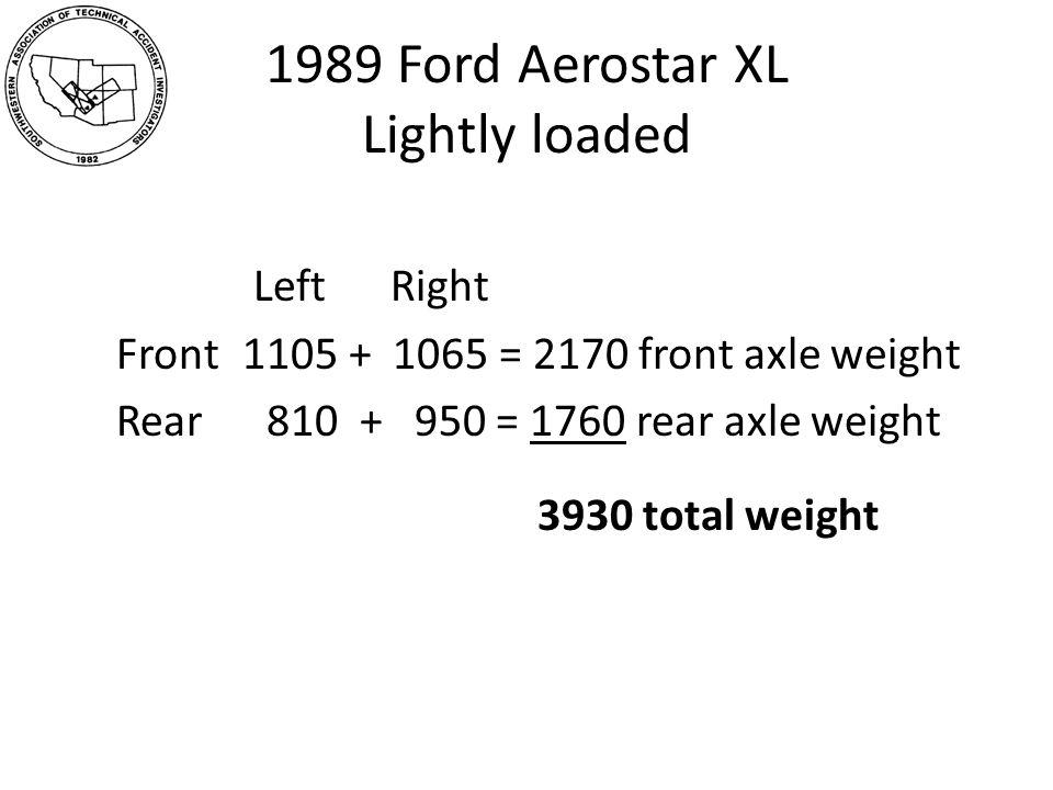 1989 Ford Aerostar XL Lightly loaded Left Right Front 1105 + 1065 = 2170 front axle weight Rear 810 + 950 = 1760 rear axle weight 3930 total weight