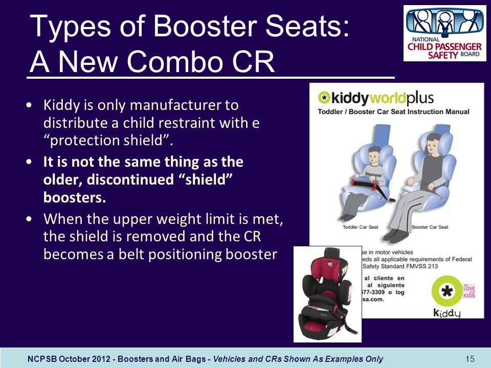 NCPSB October 2012 - Boosters and Air Bags - Vehicles and CRs Shown As Examples Only 15 Types of Booster Seats: A New Combo CR Kiddy is only manufacturer to distribute a child restraint with e protection shield .