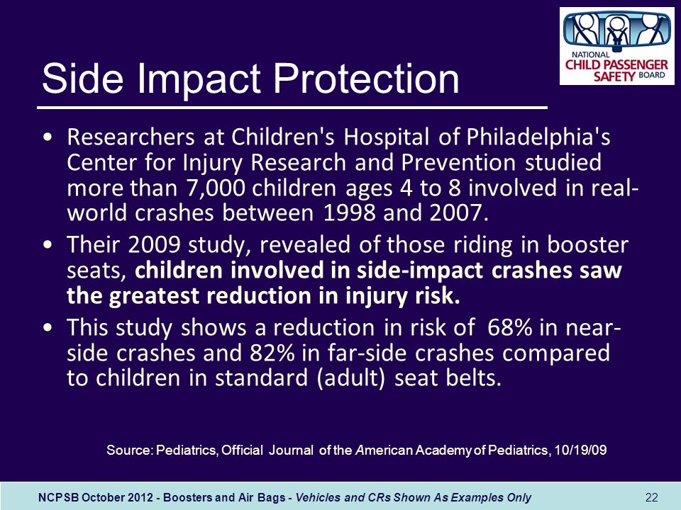 NCPSB October 2012 - Boosters and Air Bags - Vehicles and CRs Shown As Examples Only 22 Researchers at Children s Hospital of Philadelphia s Center for Injury Research and Prevention studied more than 7,000 children ages 4 to 8 involved in real- world crashes between 1998 and 2007.