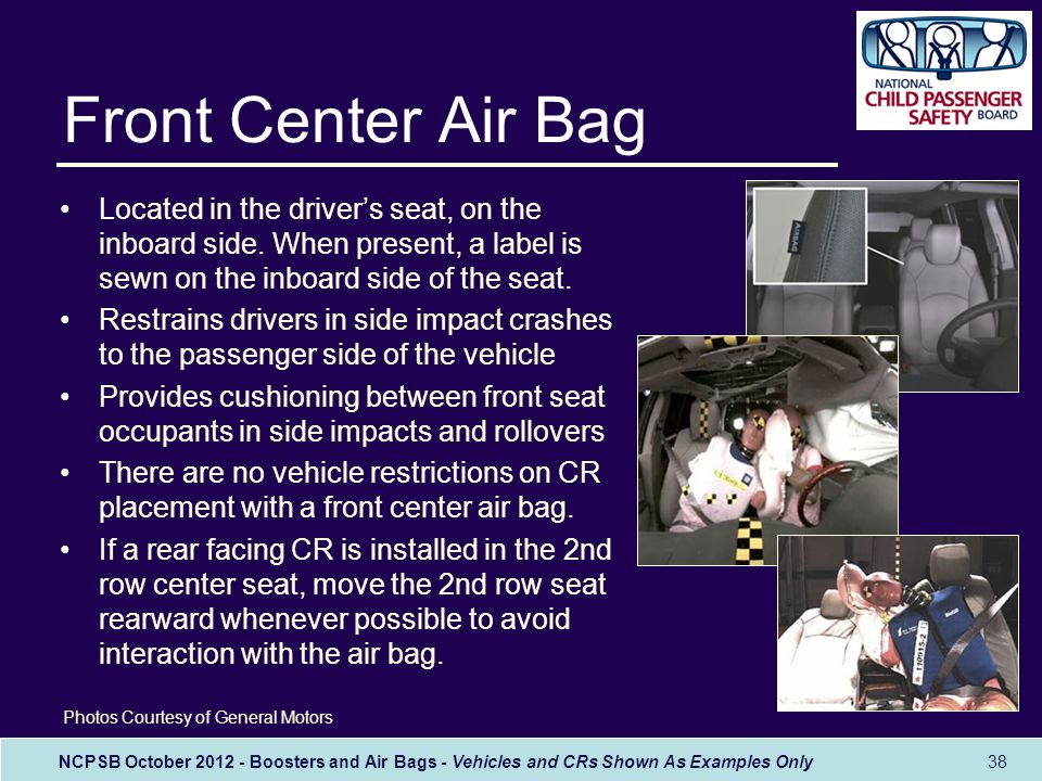 NCPSB October 2012 - Boosters and Air Bags - Vehicles and CRs Shown As Examples Only Front Center Air Bag Located in the driver's seat, on the inboard side.