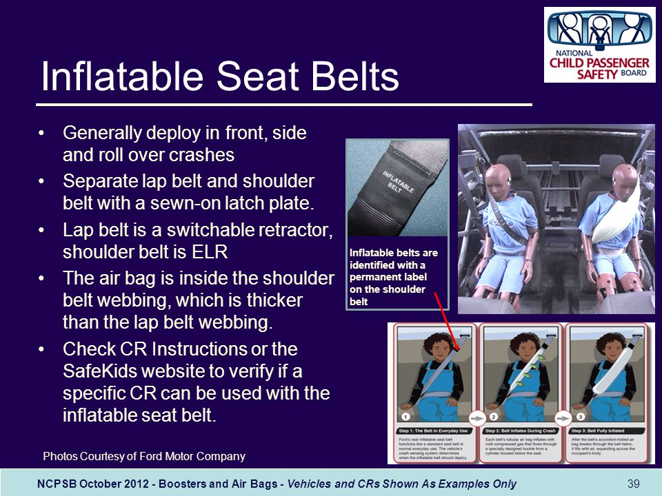 NCPSB October 2012 - Boosters and Air Bags - Vehicles and CRs Shown As Examples Only Inflatable Seat Belts Generally deploy in front, side and roll over crashes Separate lap belt and shoulder belt with a sewn-on latch plate.