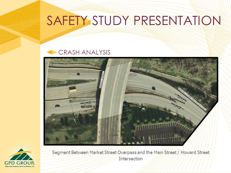 SAFETY STUDY PRESENTATION CRASH ANALYSIS Segment Between Market Street Overpass and the Main Street / Howard Street Intersection