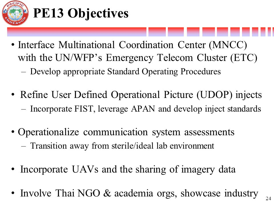Interface Multinational Coordination Center (MNCC) with the UN/WFP's Emergency Telecom Cluster (ETC) –Develop appropriate Standard Operating Procedure