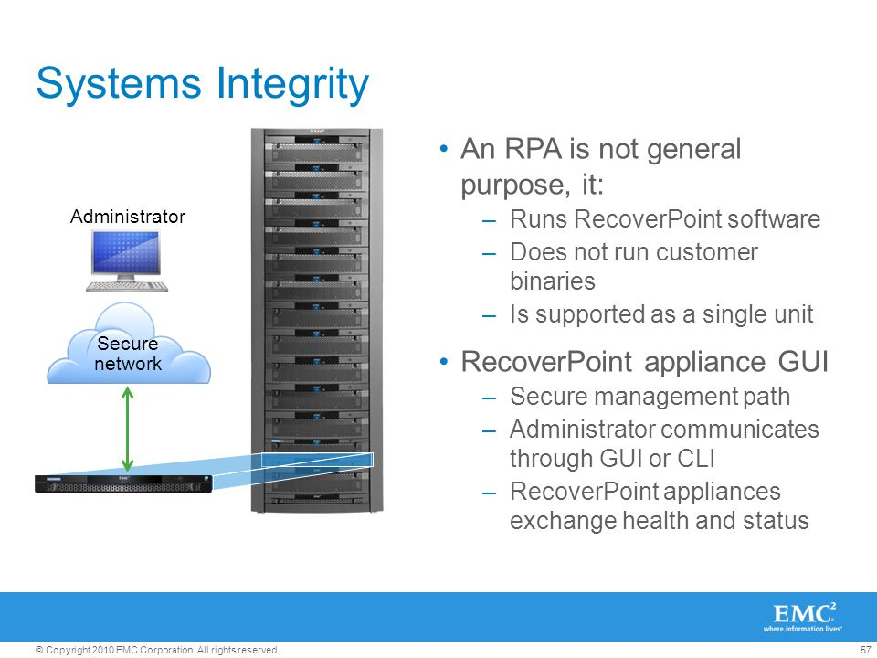 57© Copyright 2010 EMC Corporation. All rights reserved. Systems Integrity An RPA is not general purpose, it: –Runs RecoverPoint software –Does not ru