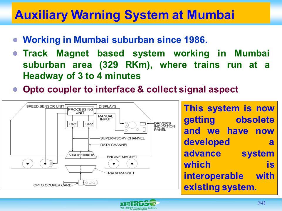 Auxiliary Warning System at Mumbai Working in Mumbai suburban since 1986. Track Magnet based system working in Mumbai suburban area (329 RKm), where t