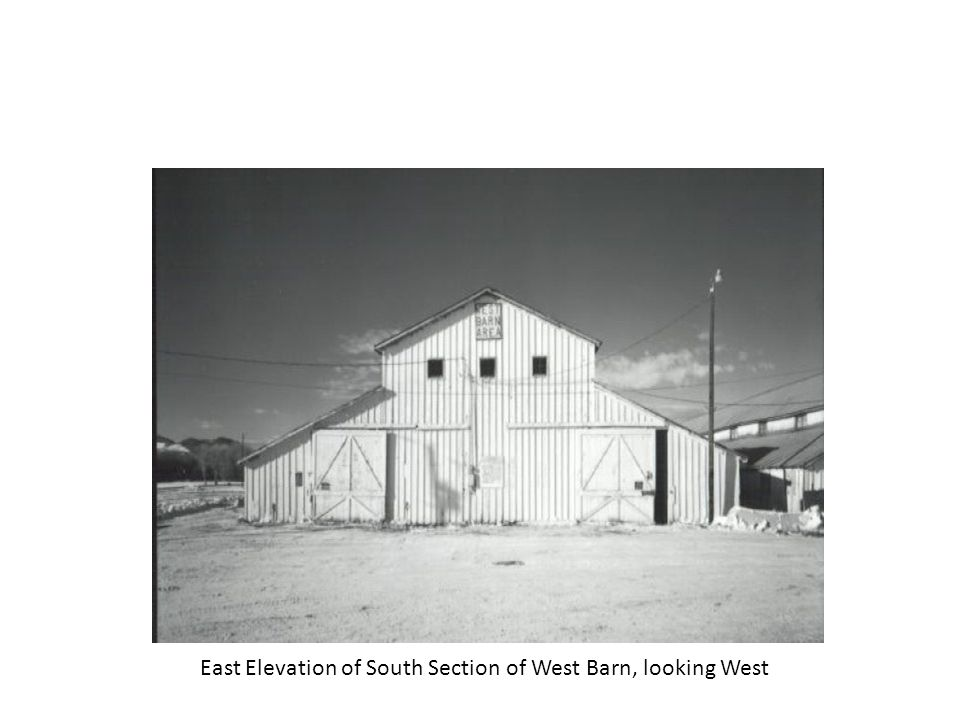 North Barn, front (East elevation of North section, looking West)