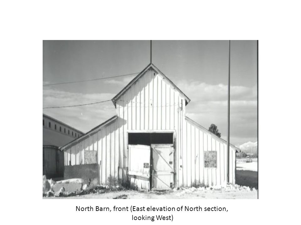 West Barn, interior of North section, detail of typical stall, looking South
