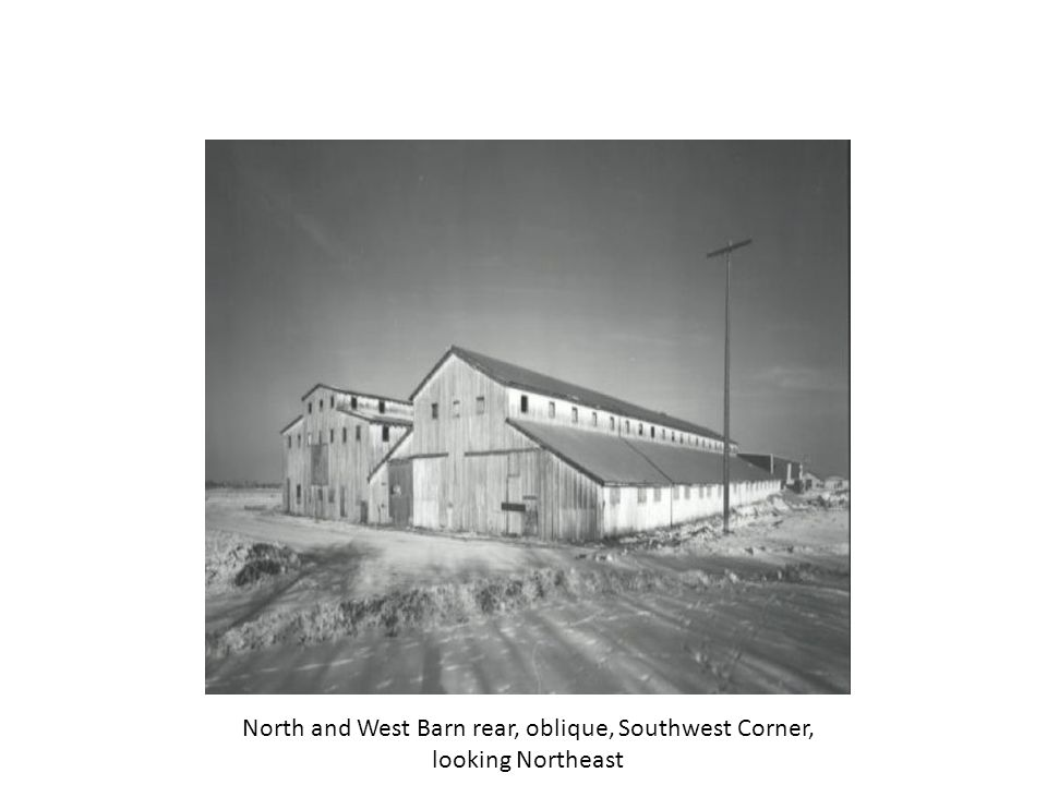 North and West Barn rear, West elevation, looking East