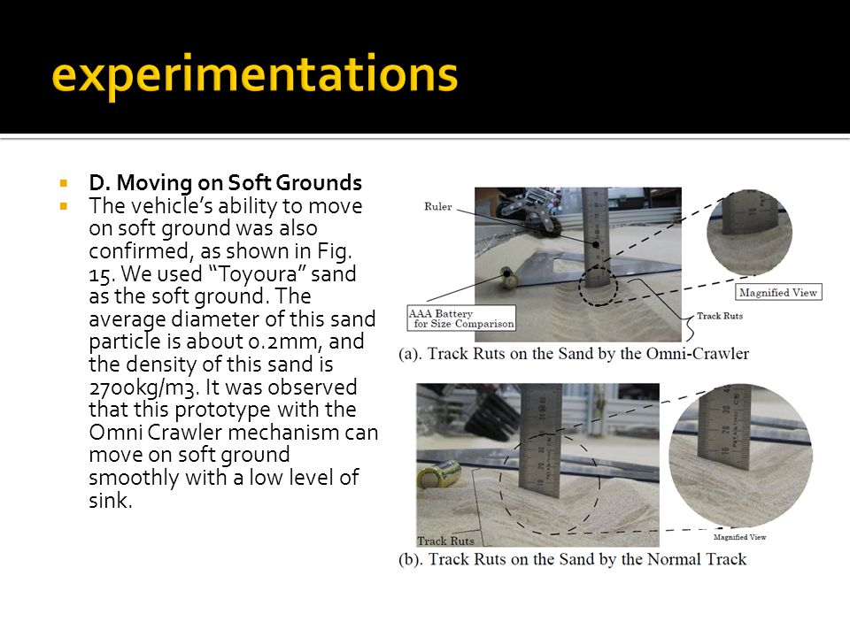 """ D. Moving on Soft Grounds  The vehicle's ability to move on soft ground was also confirmed, as shown in Fig. 15. We used """"Toyoura"""" sand as the soft"""