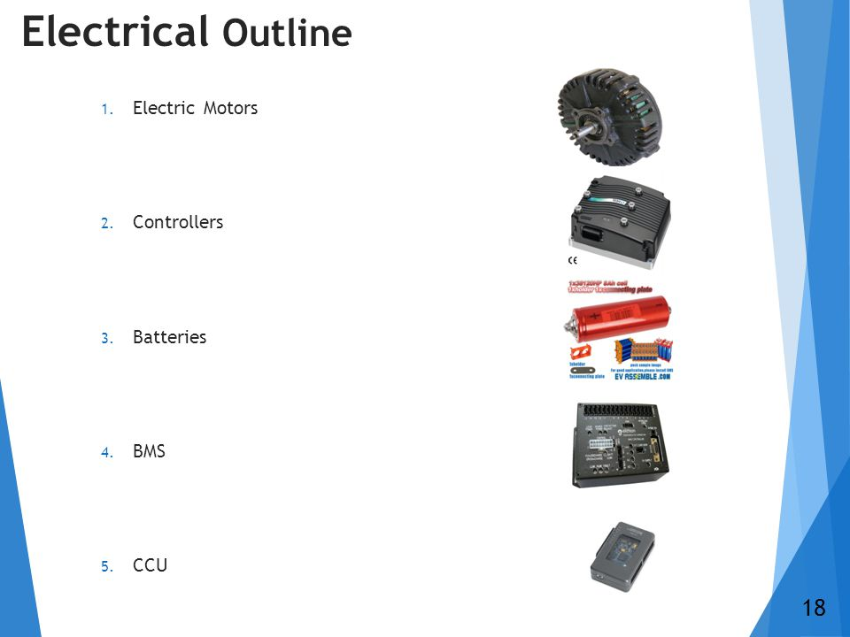 Electrical Outline 1. Electric Motors 2. Controllers 3. Batteries 4. BMS 5. CCU 18