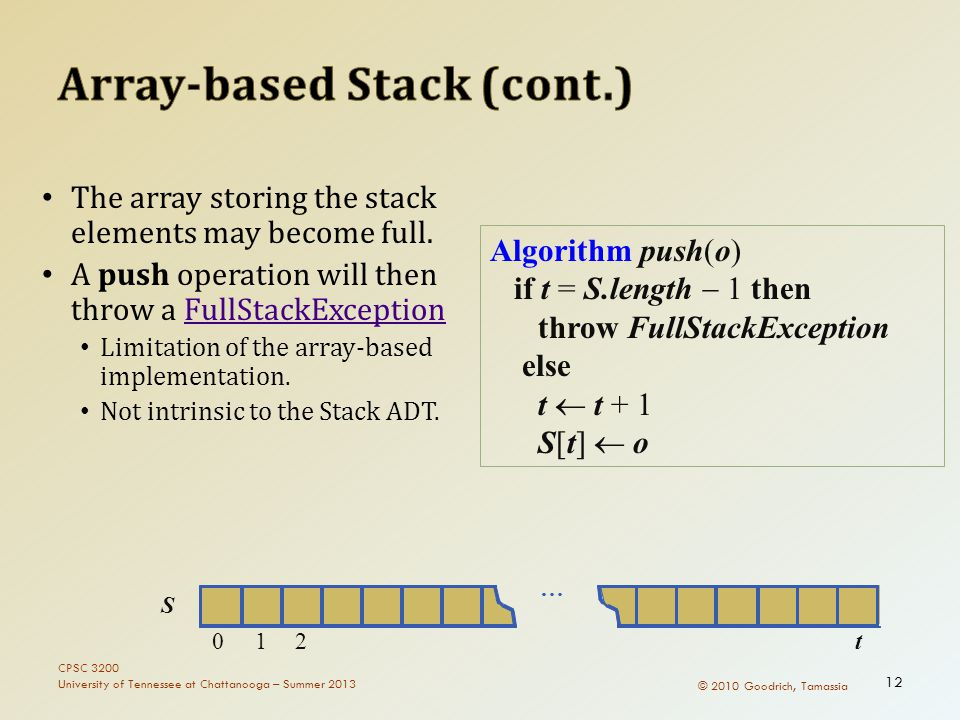 © 2010 Goodrich, Tamassia The array storing the stack elements may become full. A push operation will then throw a FullStackExceptionFullStackExceptio