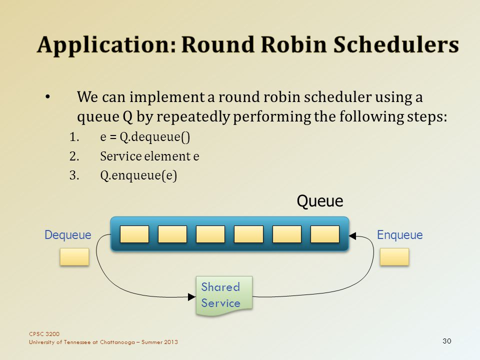 CPSC 3200 University of Tennessee at Chattanooga – Summer 2013 30 We can implement a round robin scheduler using a queue Q by repeatedly performing the following steps: 1.