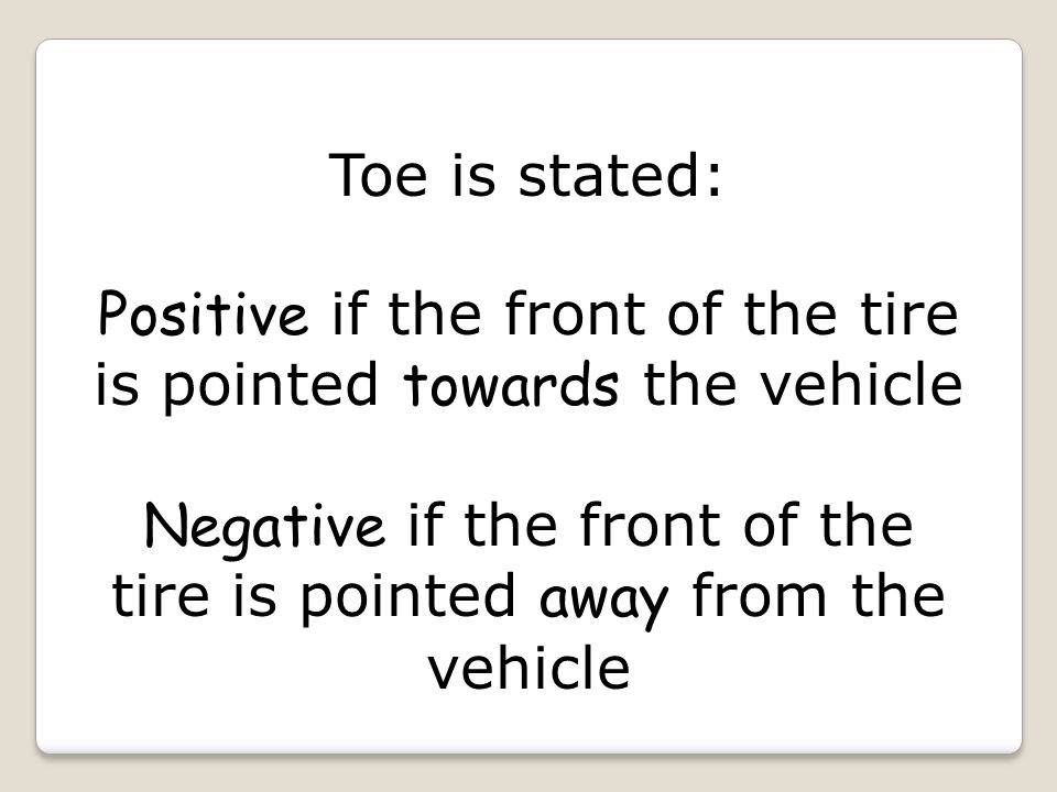 Toe Specifications are displayed as: Decimals Millimeters Degrees