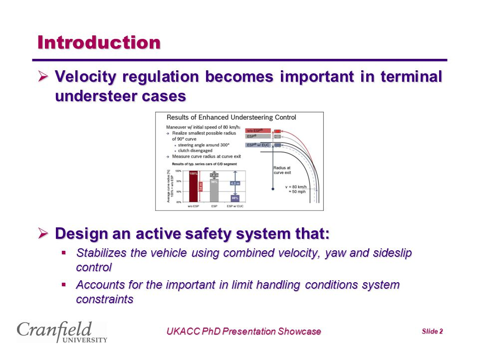 Slide 2 Introduction  Velocity regulation becomes important in terminal understeer cases  Design an active safety system that:  Stabilizes the vehi