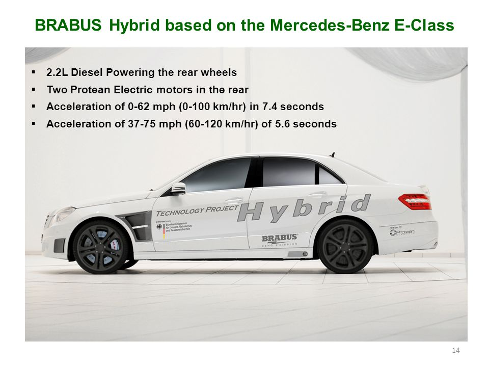14 BRABUS Hybrid based on the Mercedes-Benz E-Class  2.2L Diesel Powering the rear wheels  Two Protean Electric motors in the rear  Acceleration of 0-62 mph (0-100 km/hr) in 7.4 seconds  Acceleration of 37-75 mph (60-120 km/hr) of 5.6 seconds