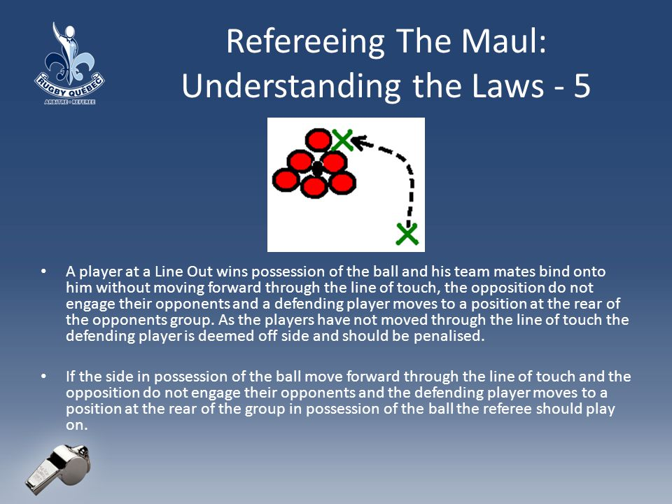 Refereeing The Maul: Understanding the Laws - 5 A player at a Line Out wins possession of the ball and his team mates bind onto him without moving forward through the line of touch, the opposition do not engage their opponents and a defending player moves to a position at the rear of the opponents group.