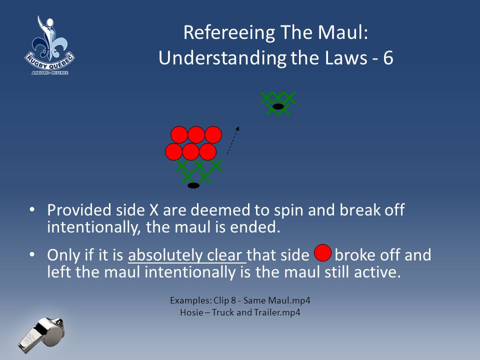 Refereeing The Maul: Understanding the Laws - 6 Provided side X are deemed to spin and break off intentionally, the maul is ended.