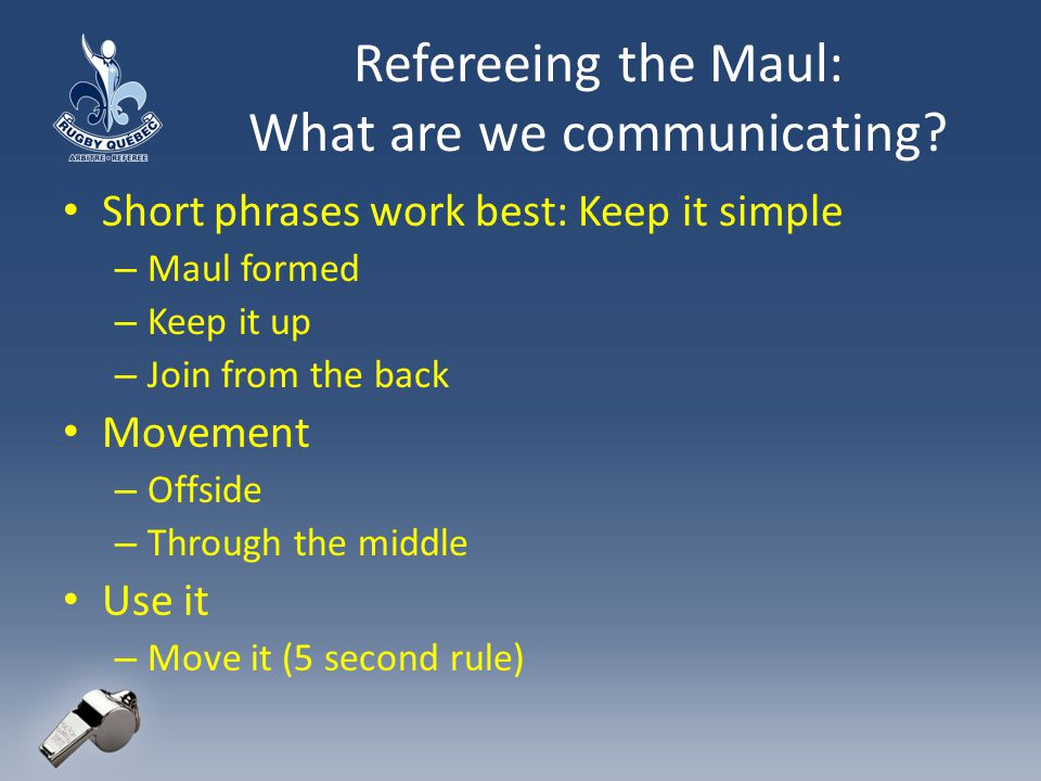 Refereeing the Maul: What are we communicating.