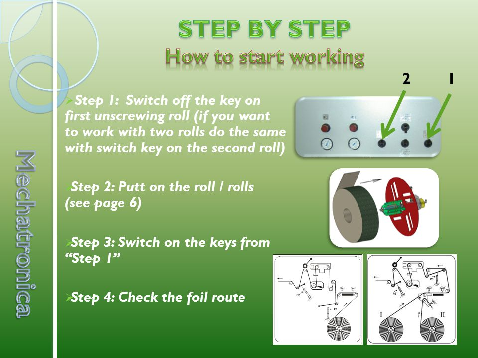  Step 1: Switch off the key on first unscrewing roll (if you want to work with two rolls do the same with switch key on the second roll)  Step 2: Putt on the roll / rolls (see page 6)  Step 3: Switch on the keys from Step 1  Step 4: Check the foil route 12