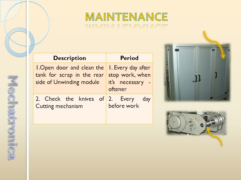 DescriptionPeriod 1.Open door and clean the tank for scrap in the rear side of Unwinding module 1.