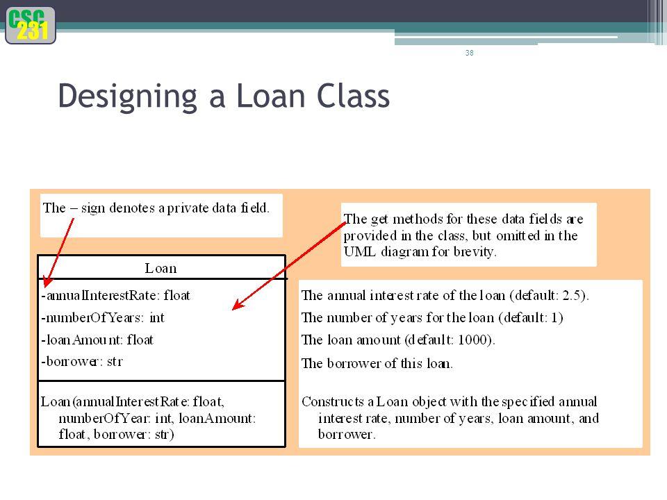 CSC 231 38 Designing a Loan Class