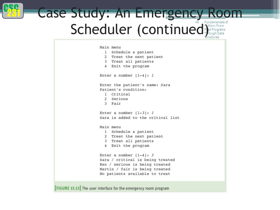 CSC 231 Fundamentals of Python: From First Programs Through Data Structures 46 Case Study: An Emergency Room Scheduler (continued)
