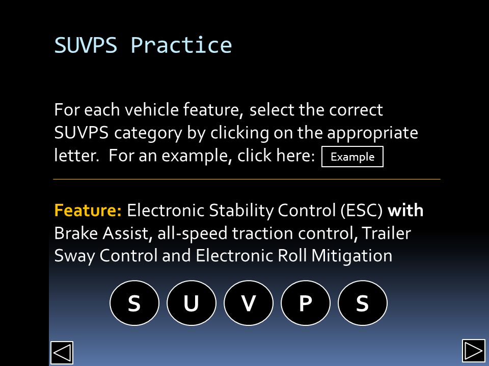 SUVPS Practice For each vehicle feature, select the correct SUVPS category by clicking on the appropriate letter.