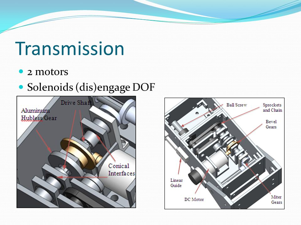 Transmission 2 motors Solenoids (dis)engage DOF