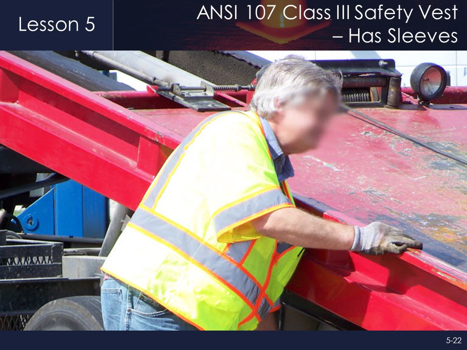Lesson 5 ANSI 107 Class III Safety Vest – Has Sleeves 5-22