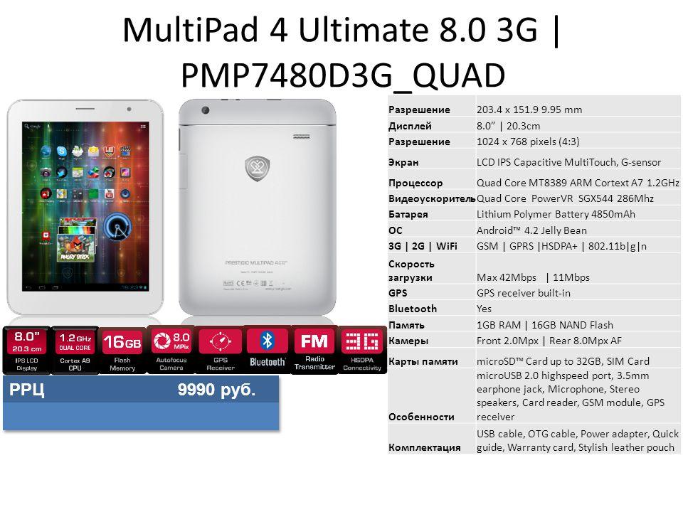 MultiPad 4 Ultimate 8.0 3G | PMP7480D3G_QUAD Разрешение203.4 x 151.9 9.95 mm Дисплей8.0 | 20.3cm Разрешение1024 x 768 pixels (4:3) ЭкранLCD IPS Capacitive MultiTouch, G-sensor ПроцессорQuad Core MT8389 ARM Cortext A7 1.2GHz ВидеоускорительQuad Core PowerVR SGX544 286Mhz БатареяLithium Polymer Battery 4850mAh ОСAndroid™ 4.2 Jelly Bean 3G | 2G | WiFiGSM | GPRS |HSDPA+ | 802.11b|g|n Скорость загрузкиMax 42Mbps | 11Mbps GPSGPS receiver built-in BluetoothYes Память1GB RAM | 16GB NAND Flash КамерыFront 2.0Mpx | Rear 8.0Mpx AF Карты памятиmicroSD™ Card up to 32GB, SIM Card Особенности microUSB 2.0 highspeed port, 3.5mm earphone jack, Microphone, Stereo speakers, Card reader, GSM module, GPS receiver Комплектация USB cable, OTG cable, Power adapter, Quick guide, Warranty card, Stylish leather pouch