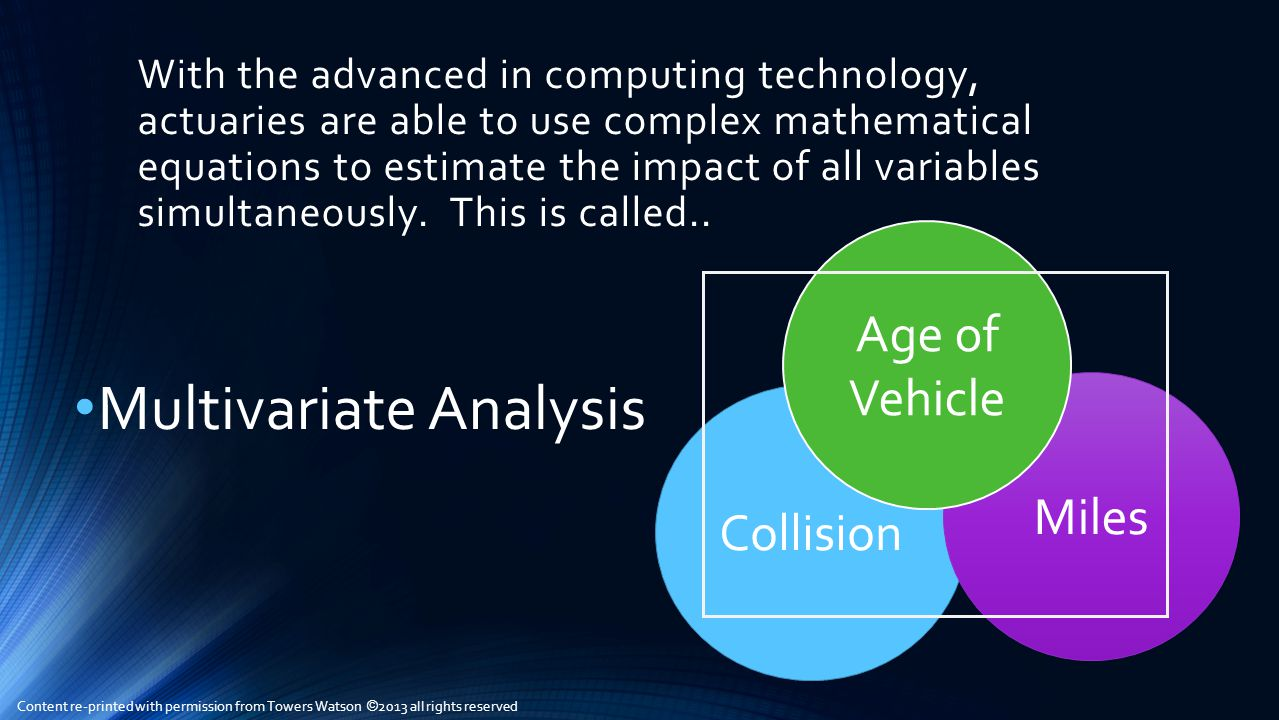 With the advanced in computing technology, actuaries are able to use complex mathematical equations to estimate the impact of all variables simultaneously.