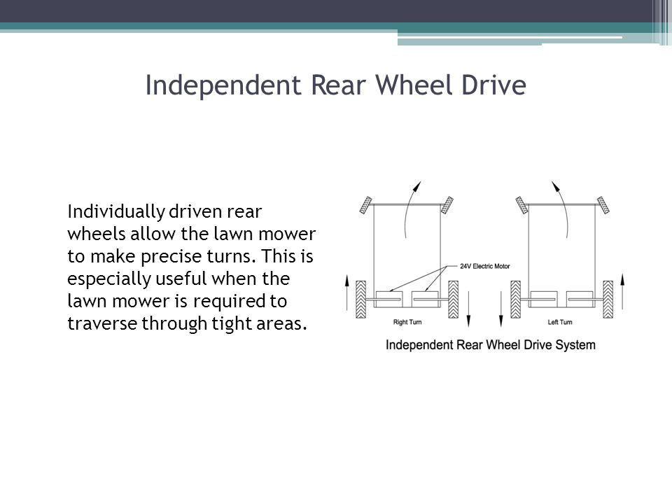 Independent Rear Wheel Drive Individually driven rear wheels allow the lawn mower to make precise turns.