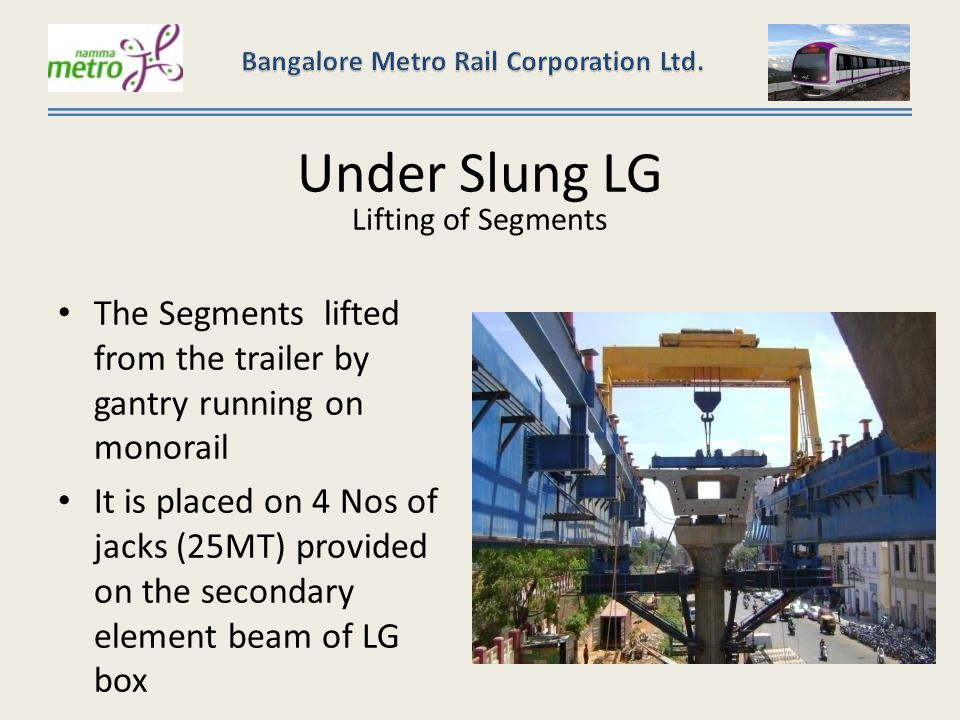 Under Slung LG Lifting of Segments The Segments lifted from the trailer by gantry running on monorail It is placed on 4 Nos of jacks (25MT) provided on the secondary element beam of LG box