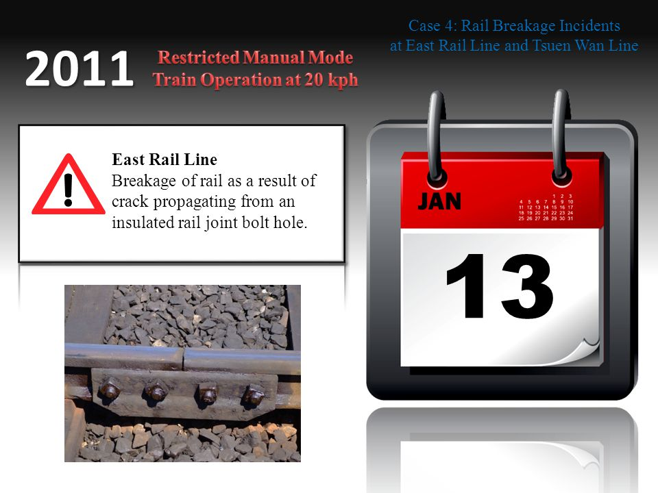 13 JAN 2011 East Rail Line Breakage of rail as a result of crack propagating from an insulated rail joint bolt hole. Case 4: Rail Breakage Incidents a