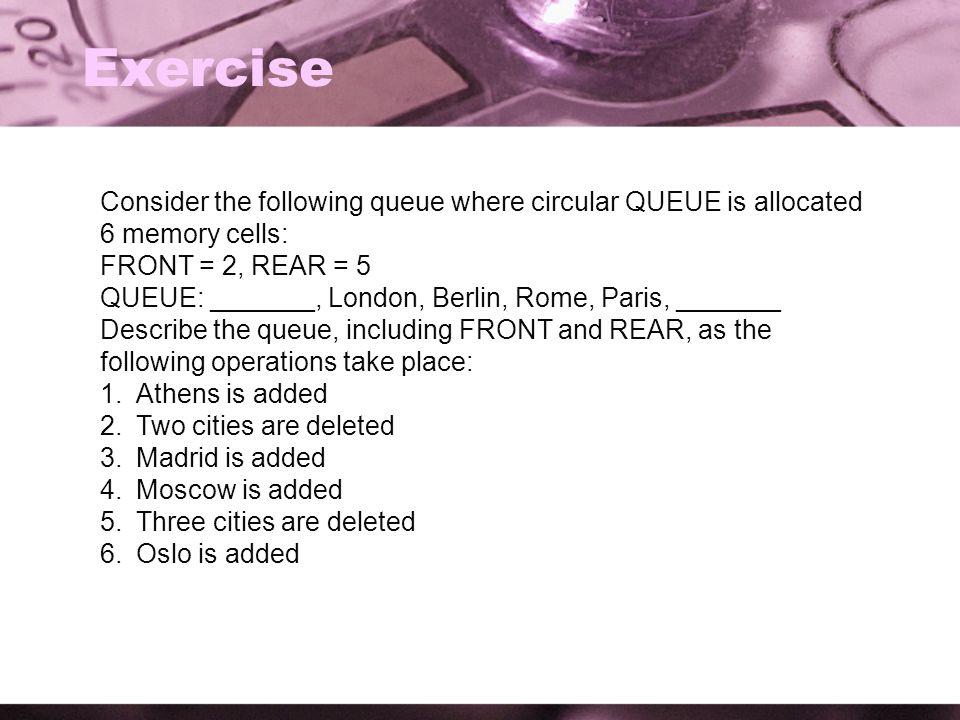Exercise Consider the following queue where circular QUEUE is allocated 6 memory cells: FRONT = 2, REAR = 5 QUEUE: _______, London, Berlin, Rome, Pari