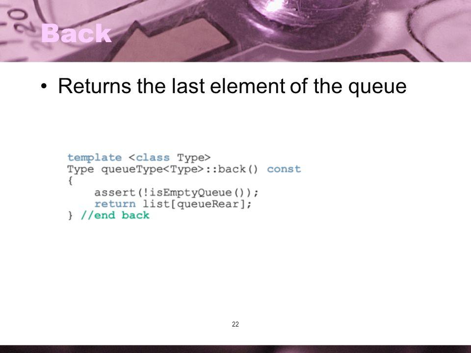 22 Back Returns the last element of the queue