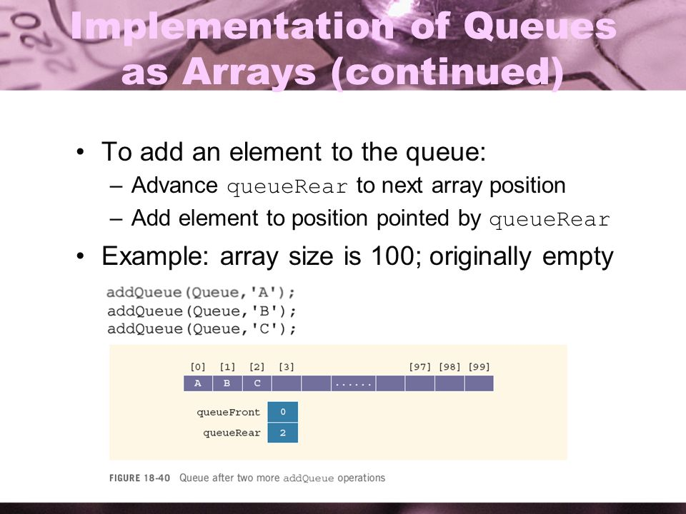 5 Implementation of Queues as Arrays (continued) To add an element to the queue: –Advance queueRear to next array position –Add element to position po