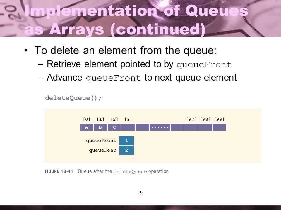 6 Implementation of Queues as Arrays (continued) To delete an element from the queue: –Retrieve element pointed to by queueFront –Advance queueFront t
