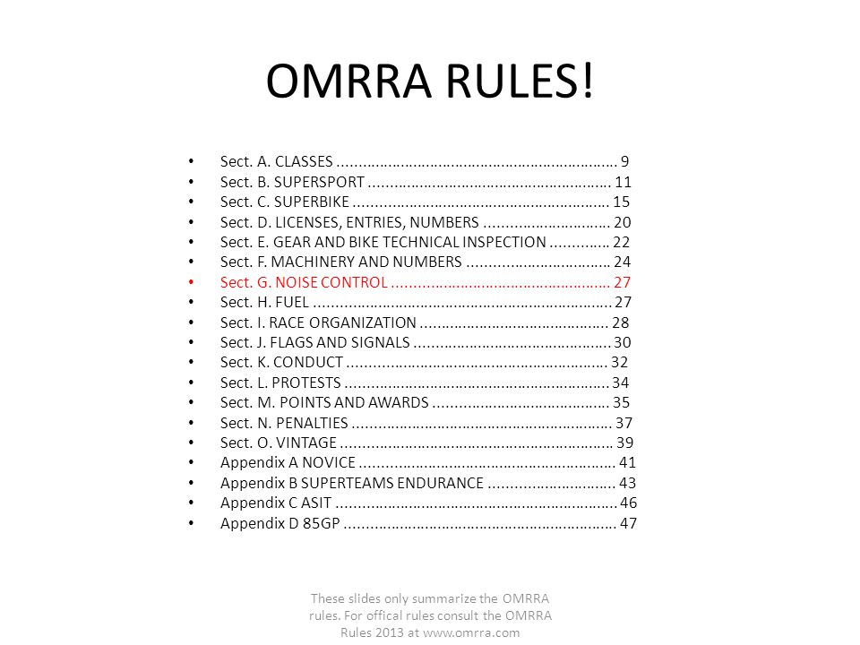 OMRRA RULES! Sect. A. CLASSES................................................................... 9 Sect. B. SUPERSPORT................................