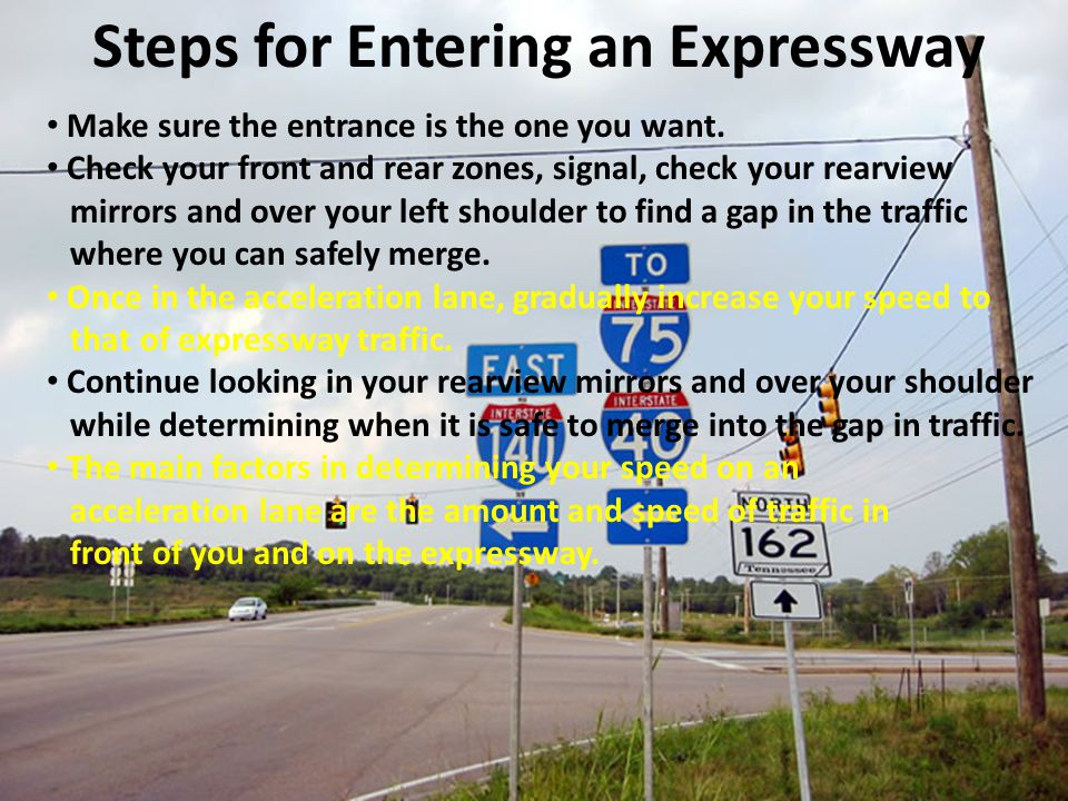 Make sure the entrance is the one you want. Check your front and rear zones, signal, check your rearview mirrors and over your left shoulder to find a
