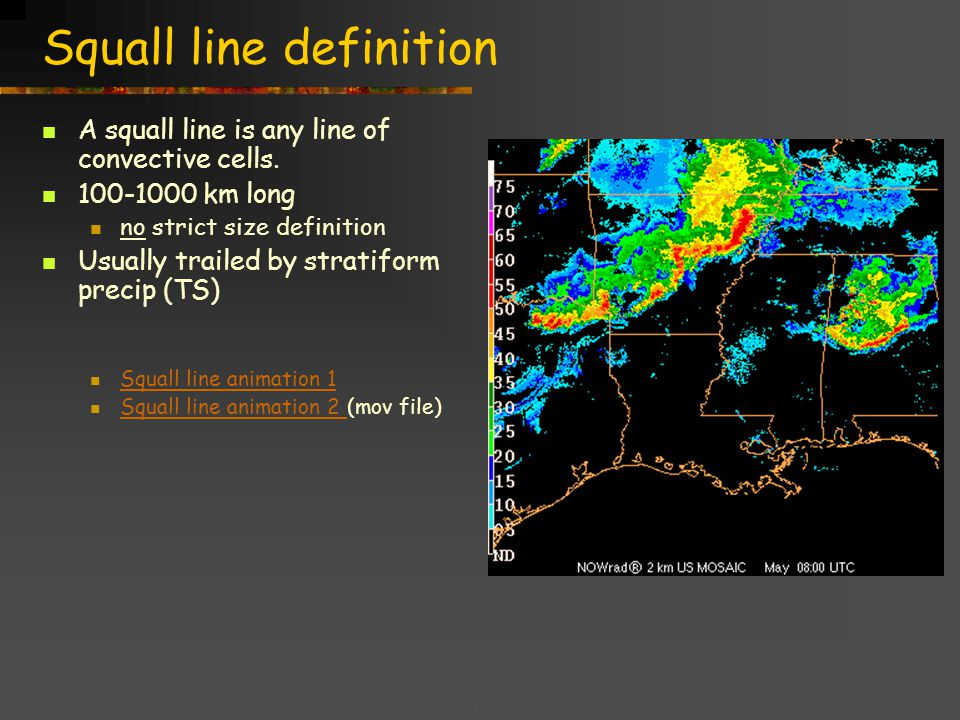 Title goes here for lessonFebruary 2002 Squall line definition A squall line is any line of convective cells.