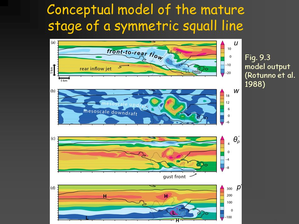 Title goes here for lessonFebruary 2002 Conceptual model of the mature stage of a symmetric squall line LL conv UL div Fig.