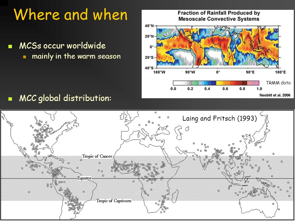 Title goes here for lessonFebruary 2002 Where and when MCSs occur worldwide mainly in the warm season MCC global distribution: Laing and Fritsch (1993) TRMM data