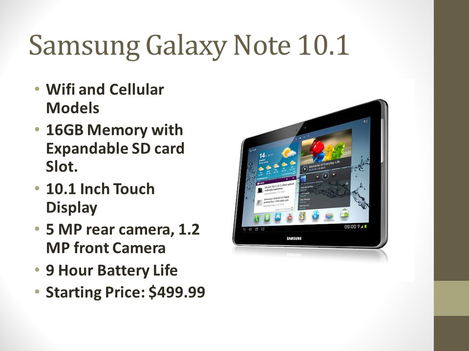 Samsung Galaxy Note 10.1 Wifi and Cellular Models 16GB Memory with Expandable SD card Slot.