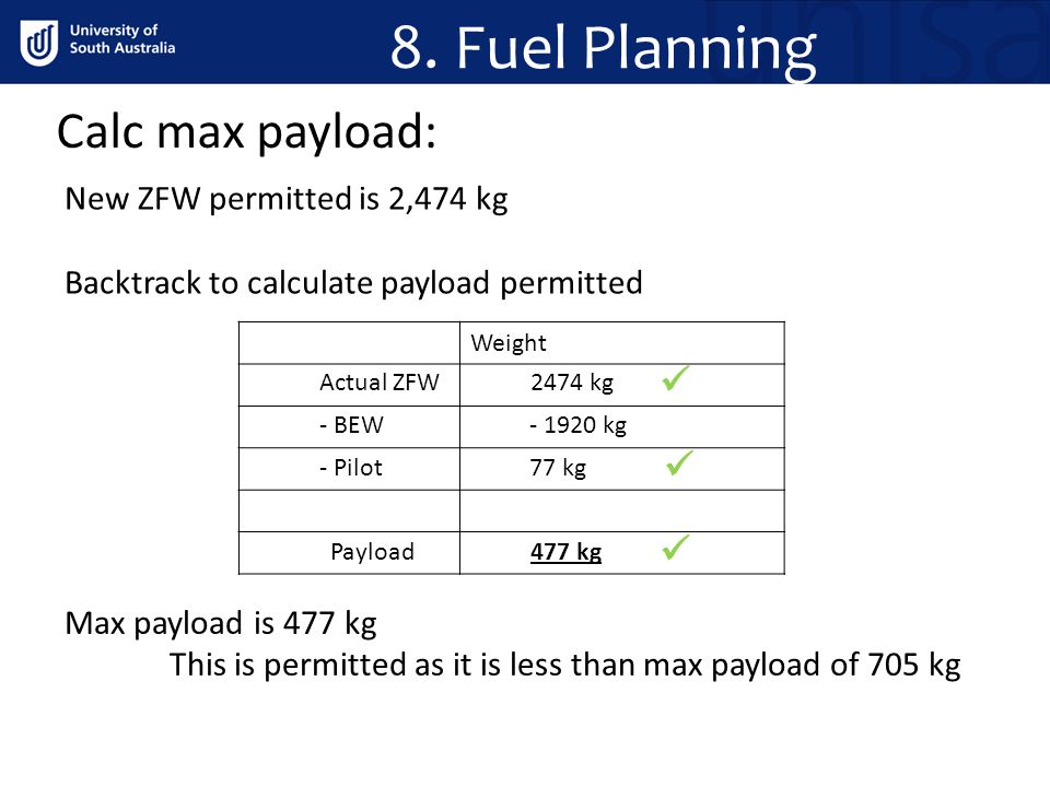 Calc max payload: 8. Fuel Planning New ZFW permitted is 2,474 kg Backtrack to calculate payload permitted Weight Actual ZFW2474 kg - BEW- 1920 kg - Pi