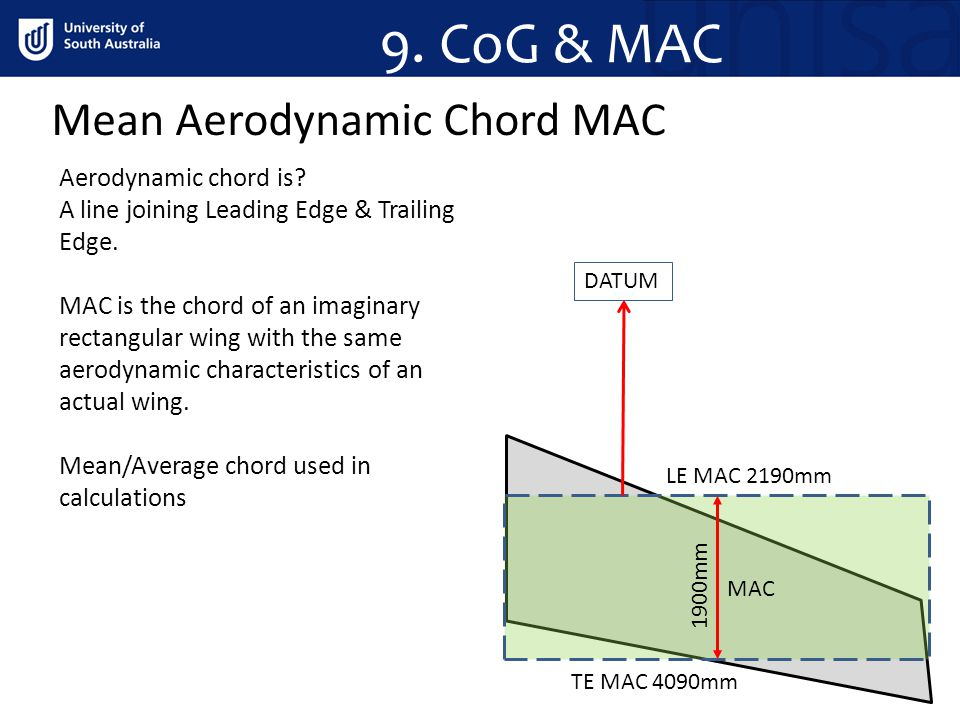 Mean Aerodynamic Chord MAC 9. CoG & MAC Aerodynamic chord is? A line joining Leading Edge & Trailing Edge. MAC is the chord of an imaginary rectangula