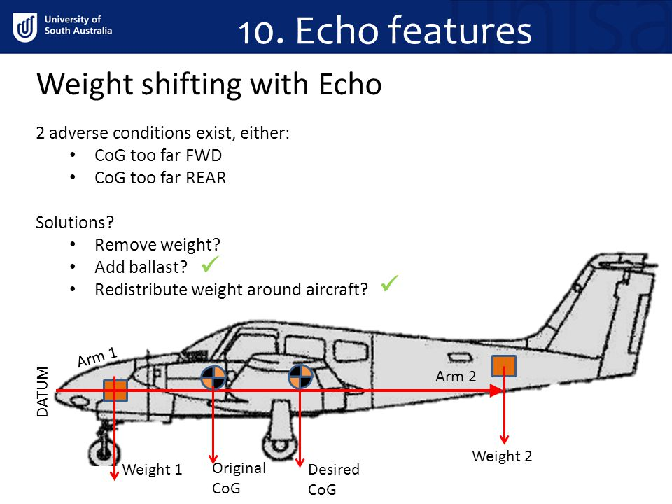 DATUM Weight 2 Weight 1 Arm 2 Arm 1 Original CoG Desired CoG Weight shifting with Echo 10. Echo features 2 adverse conditions exist, either: CoG too f