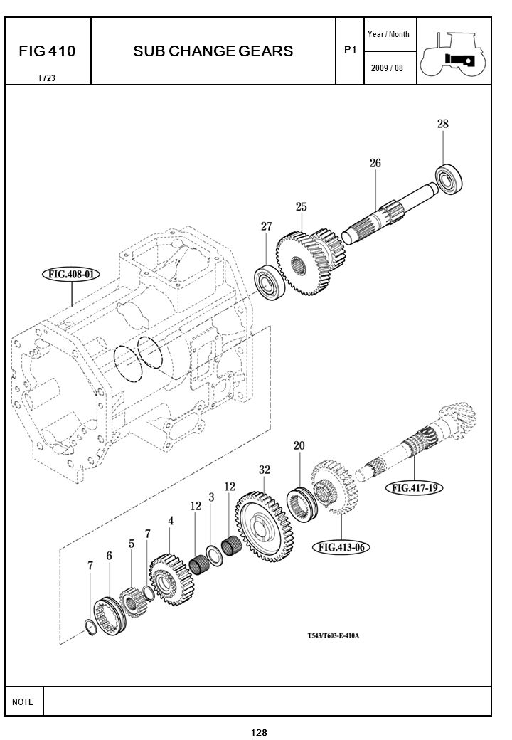 2009 / 08 NOTE Year / Month T723 P1 FIG 410 128 SUB CHANGE GEARS