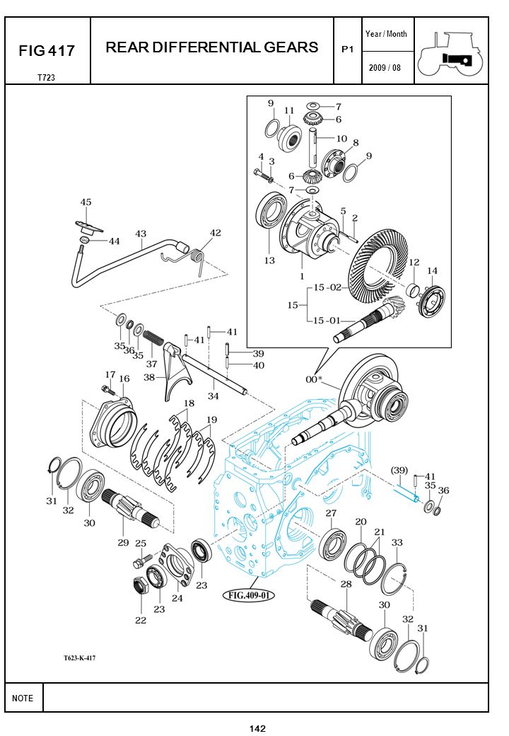 2009 / 08 NOTE Year / Month T723 P1 FIG 417 142 REAR DIFFERENTIAL GEARS