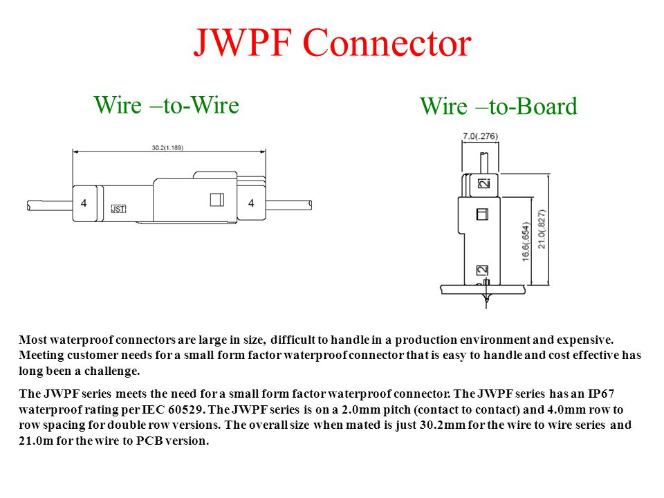 JWPF Connector Wire –to-Wire Wire –to-Board Most waterproof connectors are large in size, difficult to handle in a production environment and expensive.
